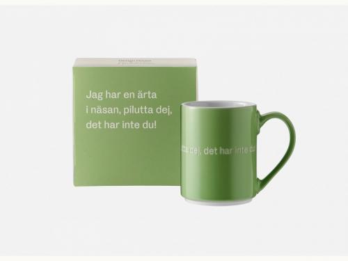 Astrid Lindgren Mugg Jag har en ärta i näsan grön