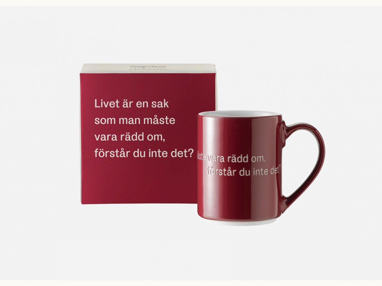 Astrid Lindgren Mugg Livet är en sak som... vinröd