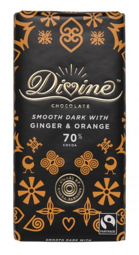 Divine 70% dark chocolate with ginger and orange