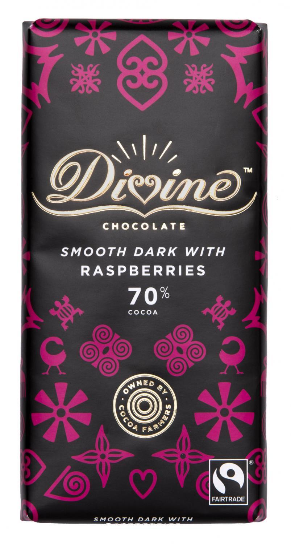 Divine 70% Dark Chocolate With Raspberries 90g