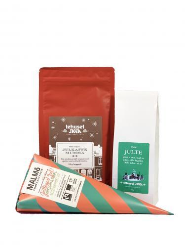 Julpresentpåse te, kaffe och choklad