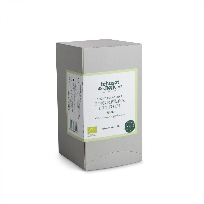 Ekologisk Grön Ingefära Citron 16 pack Tepåsar i folie