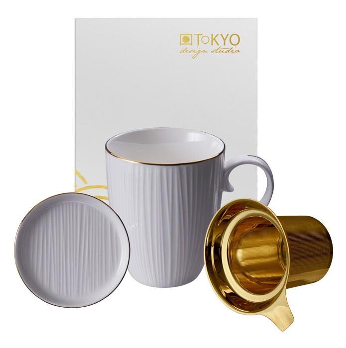 Nippon White Mug Gift Set w Strainer
