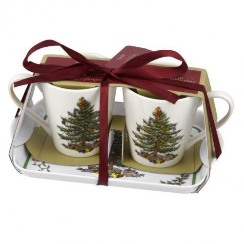 Spode Christmas Tree Mug & Tray Set