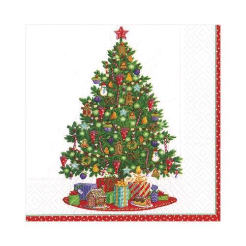 Kaffeservett Caspari Christmas Tree 12x12cm