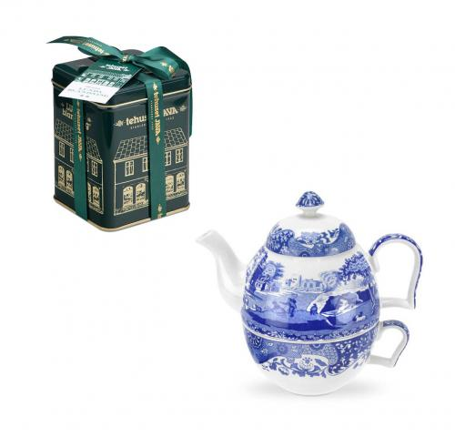 Spode Blue Italian Tea for one & Lundablandning
