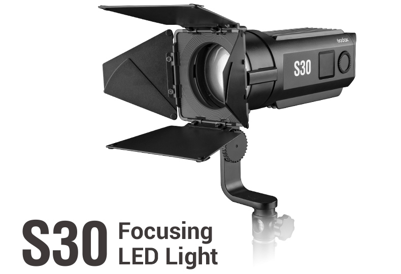 GODOX S30 FOCUSING LED LIGHT WITH BARNDOOR