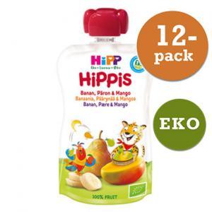 Hippis Mellanmål 4mån Smoothie Banan/Päron/Mango Eko 12x100g Hipp