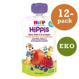 Hippis Mellanmål 6mån Smoothie Äpple/Blåbär/Granatäpple Eko 12x100g Hipp