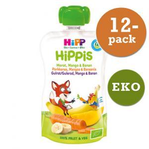 Hippis Mellanmål 4mån 12x100g Smoothie Morot/Mango/Banan Eko Hipp