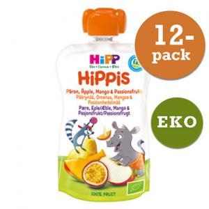 Hippis Mellanmål 6mån 12x100g Smoothie Päron/Äpple/Mango/Passionsfrukt Eko Hipp