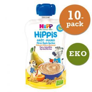 Hippis Mellanmål 6mån 10x100g Grötsmoothie Päron/Äpple/Aprikos Eko Hipp