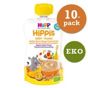 Hippis Mellanmål 6mån 10x100g Grötsmoothie Apelsin/Banan/Mango/Passionsfrukt Eko