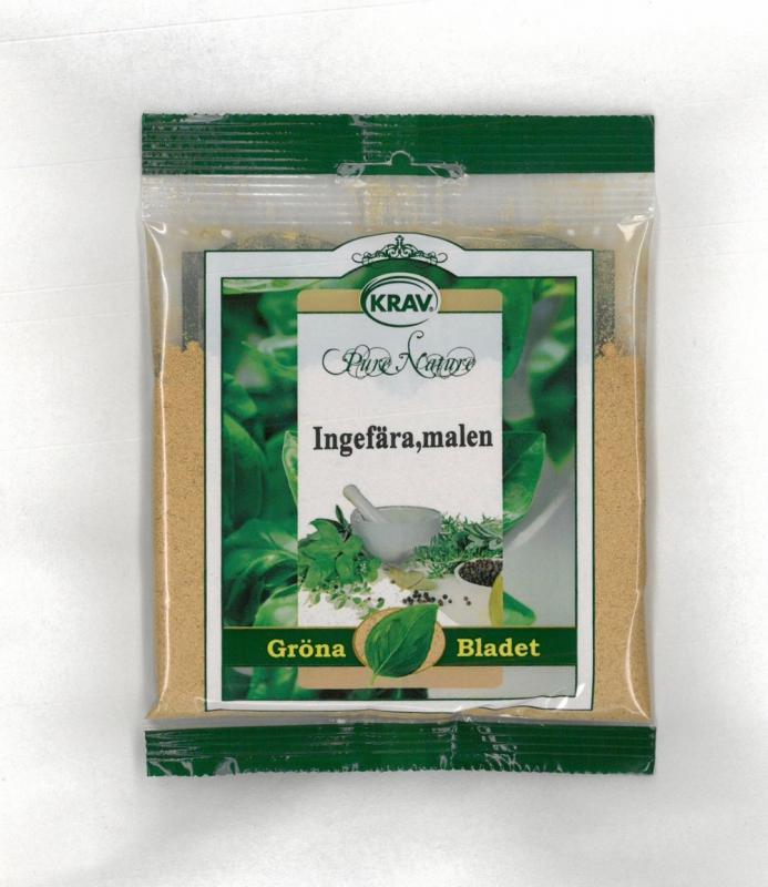Ingefära Malen KRAV 3x30g Gröna Bladet