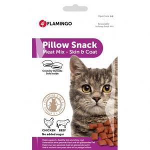 Kattgodis pillow snack hud/skinn 12x30g Flamingo