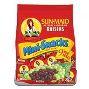 18st Russin Mini Snacks från Sun Maid om 126g vardera billigt hos Kolonialvaror. Alltid bra pris på skafferivaror i storpack. Perfekt för catering storhushåll restaurang och café. Vi levererar till hela Sverige!