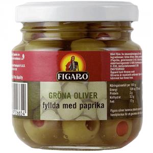 12st gröna oliver med pimentos från Figaro om 140g vardera billigt hos Kolonialvaror. Alltid bra pris på skafferivaror i storpack. Perfekt för catering storhushåll restaurang och café. Vi levererar till hela Sverige!
