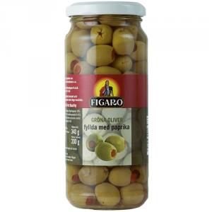 12st gröna oliver med pimentos från Figaro om 340g vardera billigt hos Kolonialvaror. Alltid bra pris på skafferivaror i storpack. Perfekt för catering storhushåll restaurang och café. Vi levererar till hela Sverige!
