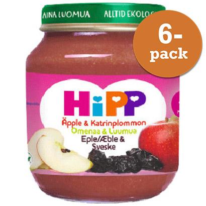 Barnmat 4 Mån Äpple/Katrinplommon Puré Eko 6x125g Hipp