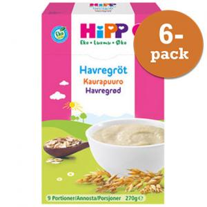 Barnmat 6 Mån Havregröt Mild Eko 6x270g Hipp