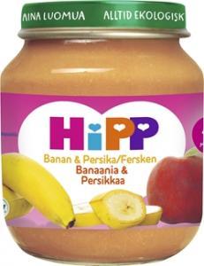 Barnmat 4 Mån Banan/Persika Eko 6x125g Hipp
