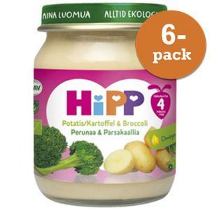 Barnmat 4 Mån Potatis/Broccoli Eko 6x125g Hipp