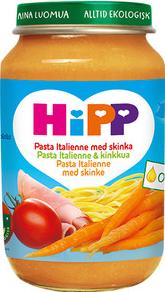 Barnmat 8-11 Mån Pasta Italiane/Skinka Eko 6x190g Hipp