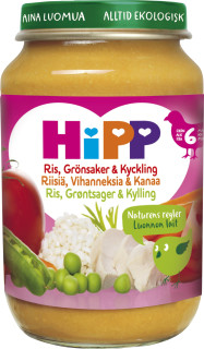 Barnmat 5-7 Mån Ris/Grönsaker/Kyckling Eko 6x190g Hipp