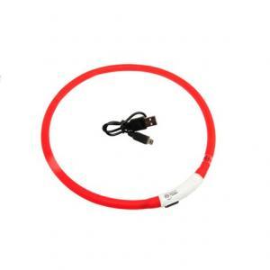 Hundhalsband 1st blinkande justerbar visio light USB reflex röd