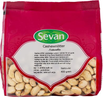 Cashewnötter Naturell 3x400g Sevan