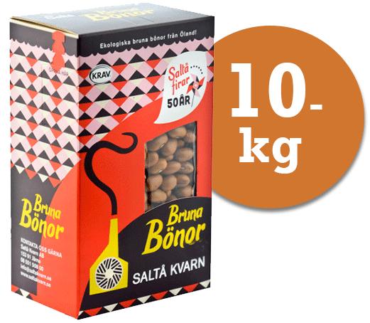 Ekologiska bruna bönor från saltå kvarn i 4 paket om 2,5 kg styck fynda billigt skafferivaror på storpack hos kolonialvaror