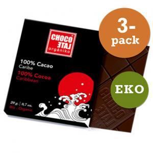 Mörk Choklad 100% Eko 3x20g Chocolate Orgániko