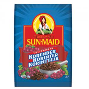 12st korinter paket från Sun Maid om 100g vardera billigt hos Kolonialvaror. Alltid bra pris på skafferivaror i storpack. Perfekt för catering storhushåll restaurang och café. Vi levererar till hela Sverige!