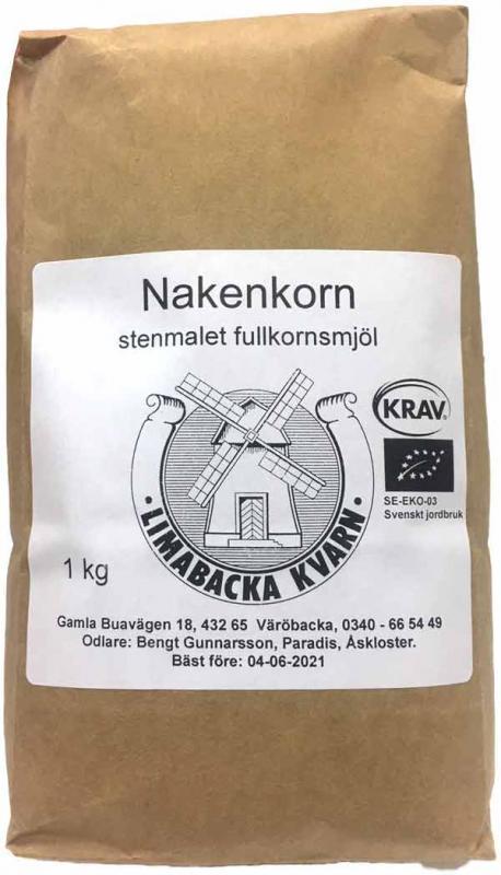 Nakenkorn Fullkornsmjöl Krav 12x1kg Limabacka Kvarn