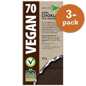 Choklad 70% Vegan 3x100g Green Star