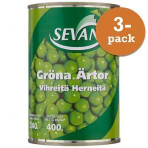Gröna Ärter 3x400g Sevan
