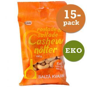 Cashewnötter Rostade Saltå Kvarn 15x100g