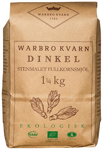 Dinkel Fullkornsmjöl 2x1,25kg Eko/Krav Warbro Kvarn