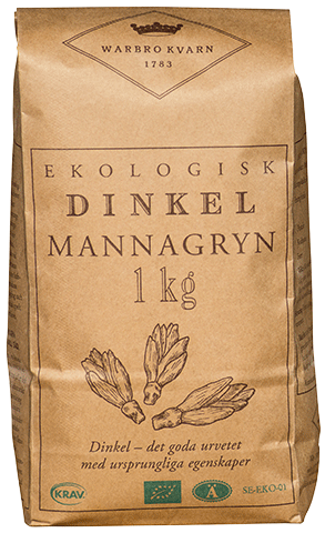 Dinkel Mannagryn 10x1,25kg Warbro Kvarn