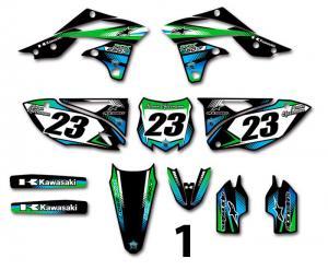 Kawasaki 2 olika designer! Komplett dekalkit, anpassat till valfri modell. Färgerna går att byta om du vill.  5 loggor ingår i priset.