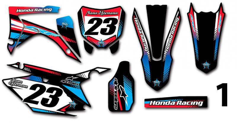 Honda 5 olika designer! Komplett dekalkit, anpassat till valfri modell. Färgerna går att byta om du vill.  5 loggor ingår i priset.
