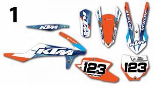 KTM 10 olika designer! Komplett dekalkit, anpassat till valfri modell. Färgerna går att byta om du vill.  5 loggor ingår i priset.