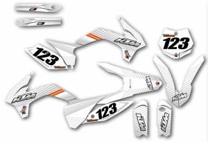 KTM komplett dekalkit anpassat till valfri modell. Grey & White.