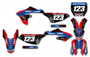Yamaha komplett dekalkit anpassat till valfri modell. Red & Blue