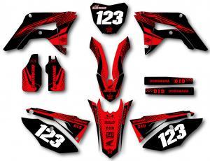 Honda komplett dekalkit anpassat till valfri modell. Red & Black.