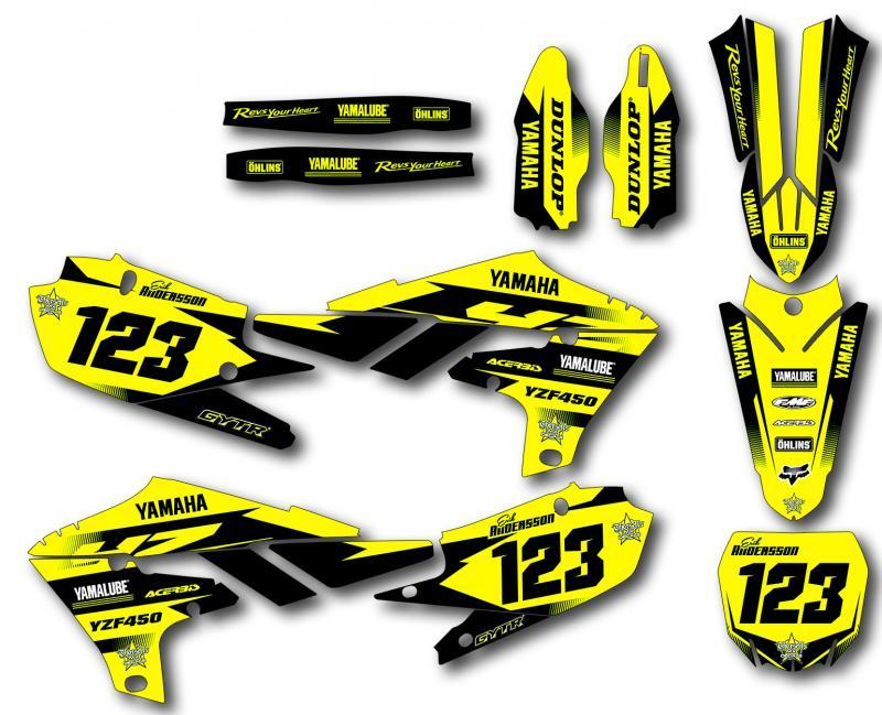Yamaha komplett dekalkit anpassat till valfri modell. Yellow.