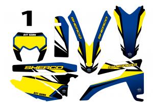 Sherco komplett dekalkit, 1 designer anpassat till valfri modell. Färgerna går att byta om du vill.  5 loggor ingår i priset.