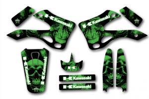 KX 125-250 99-02 Semikit Green Skull