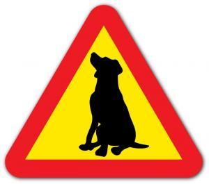 Varningsdekal hund