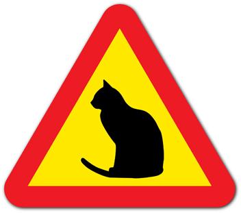 Varningsskylt katt